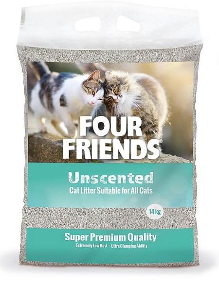 Four Friends Kattsand Oparfymerad, 14kg